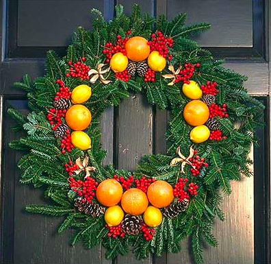 winter wreath with fruit