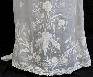 Regency era gown with white on white embroidery