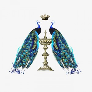2 peacocks with crown